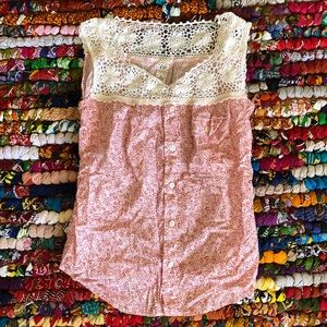Free People Pink Crochet Button Down Tank